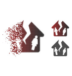 Damaged pixelated halftone divorce house icon vector