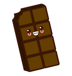 Delicious chocolate bar cute kawaii cartoon vector
