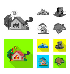 Design of natural and disaster sign set of vector