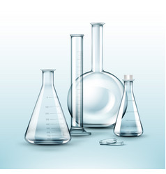 Different chemical flasks vector