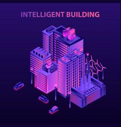 energy saving intelligent building concept vector image