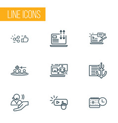 Engine icons line style set with related content vector