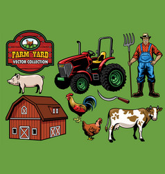 Farming yard collection vector