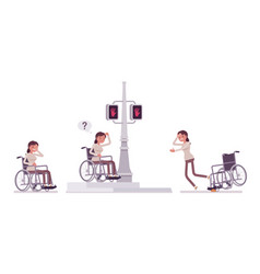 Female young wheelchair user in negative city vector