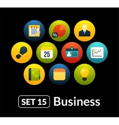 Flat icons set 15 - businnes collection vector image
