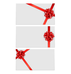 gift card template with bow and ribbon collection vector image