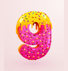 Glazed donut font number 9 number nine cake vector