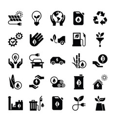 Green energy icon set in flat style vector