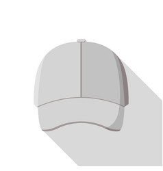 Grey front baseball cap icon flat style vector