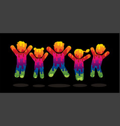 Group of children jumping graphic vector