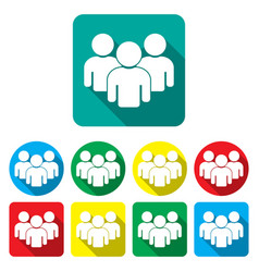 group people icons set teamwork vector image