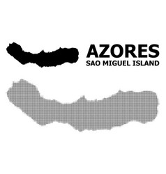 Halftone mosaic and solid map sao miguel vector
