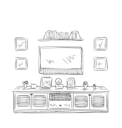 Hand drawn furniture sketch vector image
