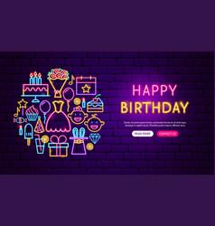happy birthday neon banner design vector image