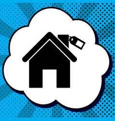 Home silhouette with tag black icon in vector