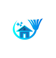 house broom cleaning logo logo inspiration vector image