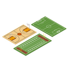 isometric american football and soccer fields vector image