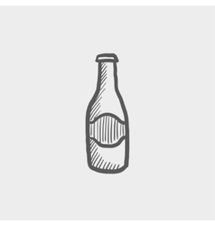 Light beer bottle sketch icon vector image