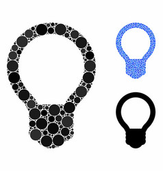 Light bulb composition icon round dots vector