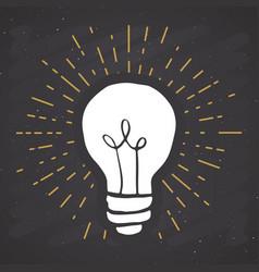 Light bulb symbol vintage label grunge textured vector