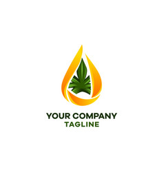 logo cbd hemp oil drop oil and a sheet vector image