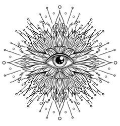 lotus eye sacred geometry ayurveda symbol vector image