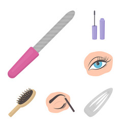 Makeup and cosmetics cartoon icons in set vector
