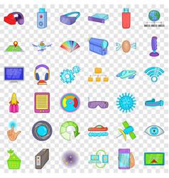 media technology icons set cartoon style vector image