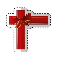 Merry christmas bow decorative card vector