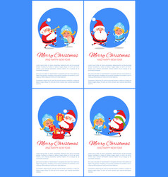 merry christmas happy new year santa snow maiden vector image