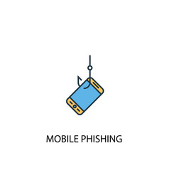 mobile phishing concept 2 colored line icon vector image