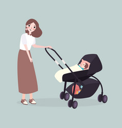 Mom walks with a stroller with her baby vector