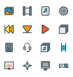 Multimedia icons colored line set with multimedia vector