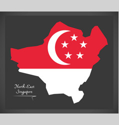 North-east singapore map with national flag vector