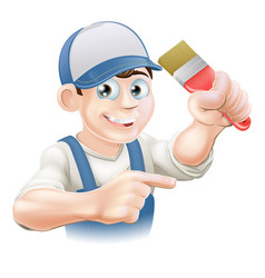 Painter decorator pointing vector