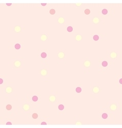 Pastel polka dots on pink background tile pattern vector
