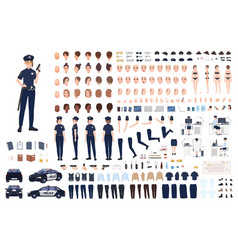 Policewoman constructor or diy kit collection of vector