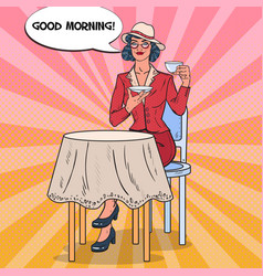pop art beautiful woman drinking tea in cafe vector image