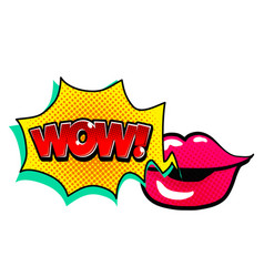 Pop art lip speech wow image vector