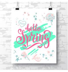 Poster with a handwritten phrase-hello spring 2 vector
