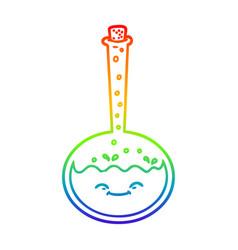 Rainbow gradient line drawing cartoon chemical vector