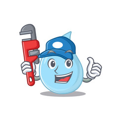 Raindrop smart plumber cartoon design with tool vector