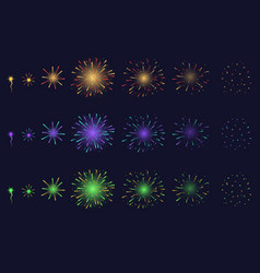 realistic detailed 3d light fireworks animation vector image