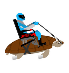 Riding turtle racer on reptile isolated on white vector