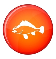 Rose fish Sebastes norvegicus icon flat style vector