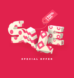 Sale 3d sign pink invert vector