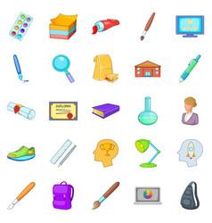 Schoolbook icons set cartoon style vector