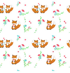 Seamless pattern with cute foxes in love vector