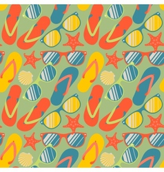 seamless pattern with flip flops sunglasses vector image
