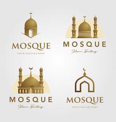 Set mosque logo islamic symbol gold color vector